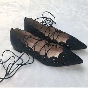 J. Crew Navy Blue Eyelet Leather Lace Up Flats